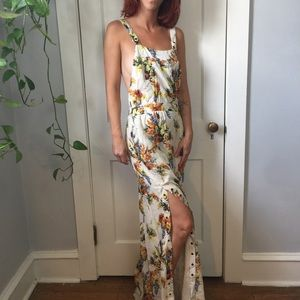 Haute Hippie Ivory Silk Floral Snap Maxi Dress
